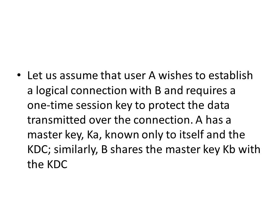 Let us assume that user A wishes to establish a logical connection with B and requires a one-time session key to protect the data transmitted over the connection.