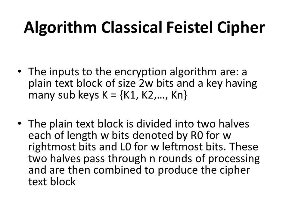 Algorithm Classical Feistel Cipher