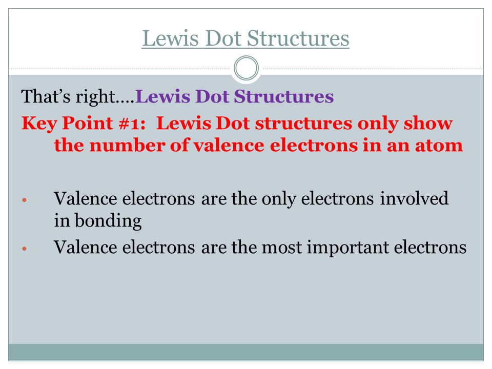 Lewis Dot Structures That's right….Lewis Dot Structures