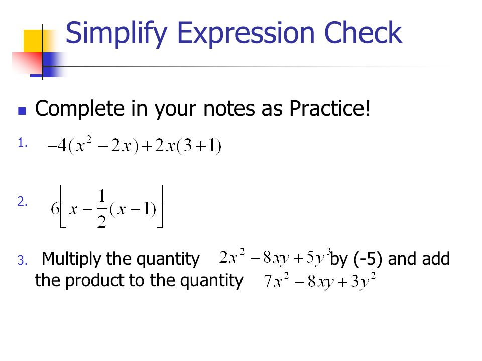 Simplify Expression Check