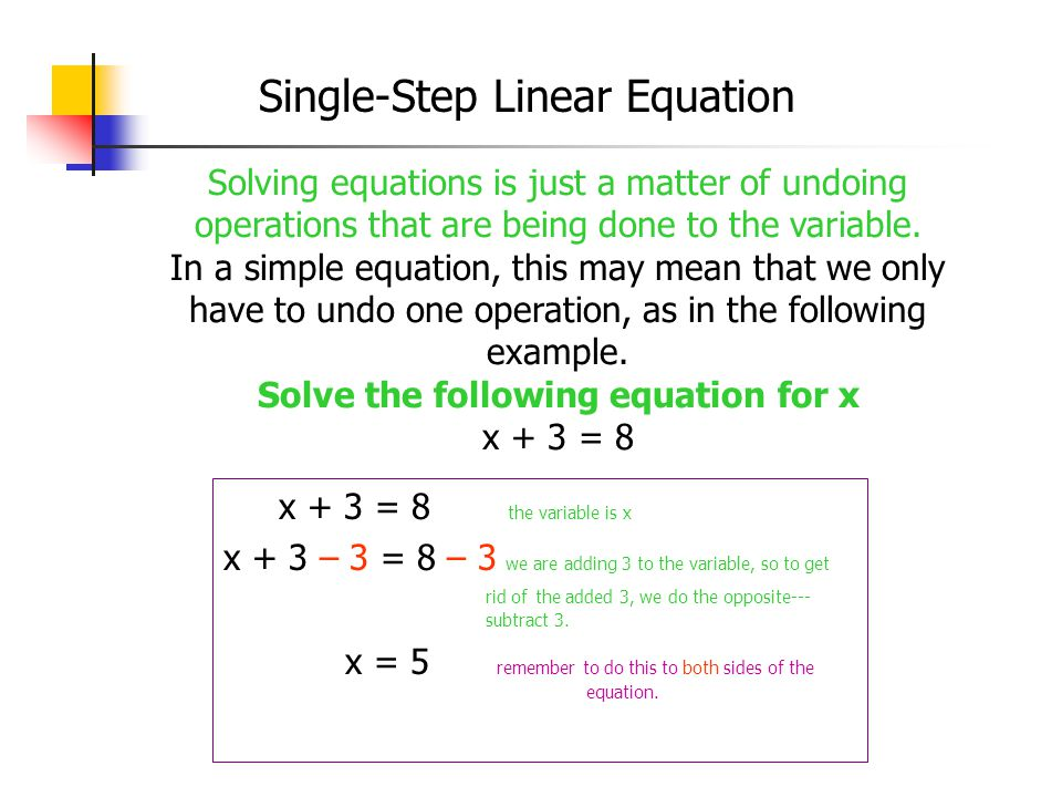 Single-Step Linear Equation