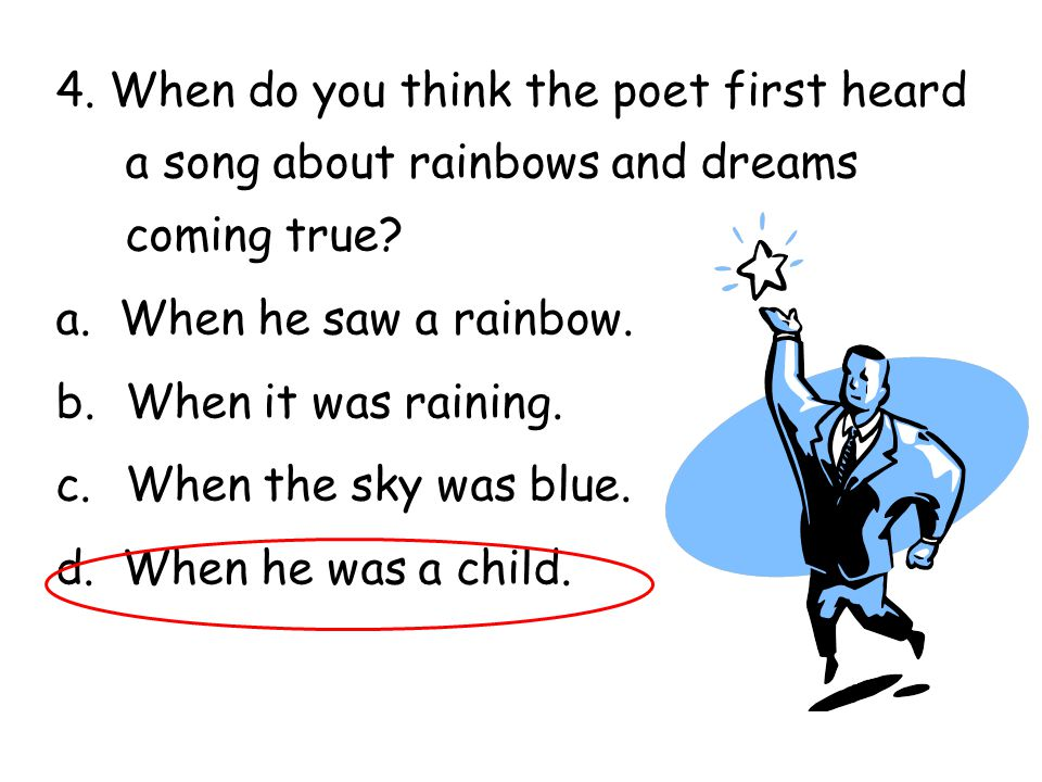 4. When do you think the poet first heard a song about rainbows and dreams coming true
