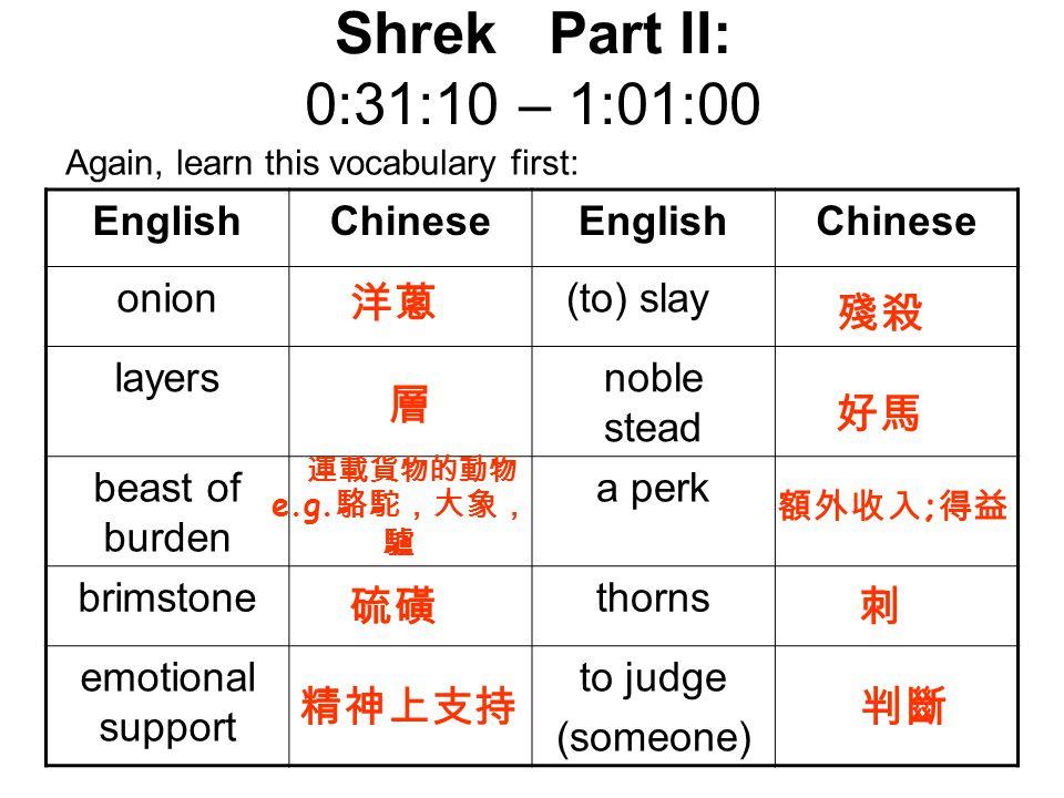 Shrek Part II: 0:31:10 – 1:01:00 洋蔥 殘殺 層 好馬 硫磺 刺 精神上支持 判斷 English