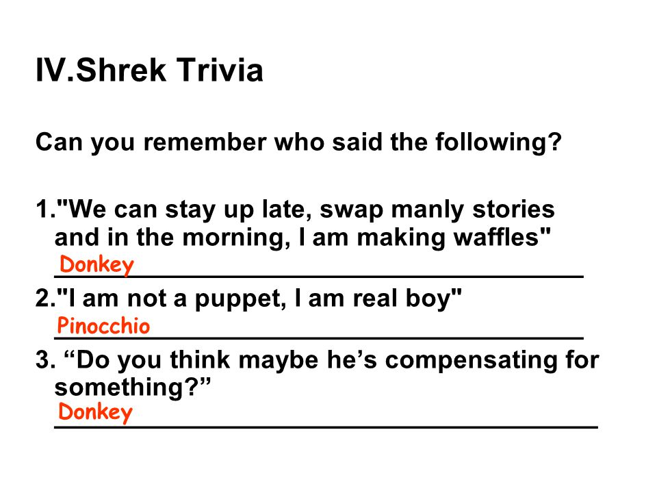 Shrek Trivia Can you remember who said the following