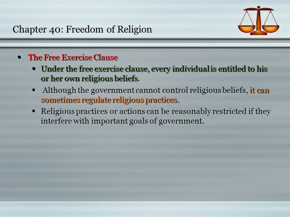 Chapter 40: Freedom of Religion