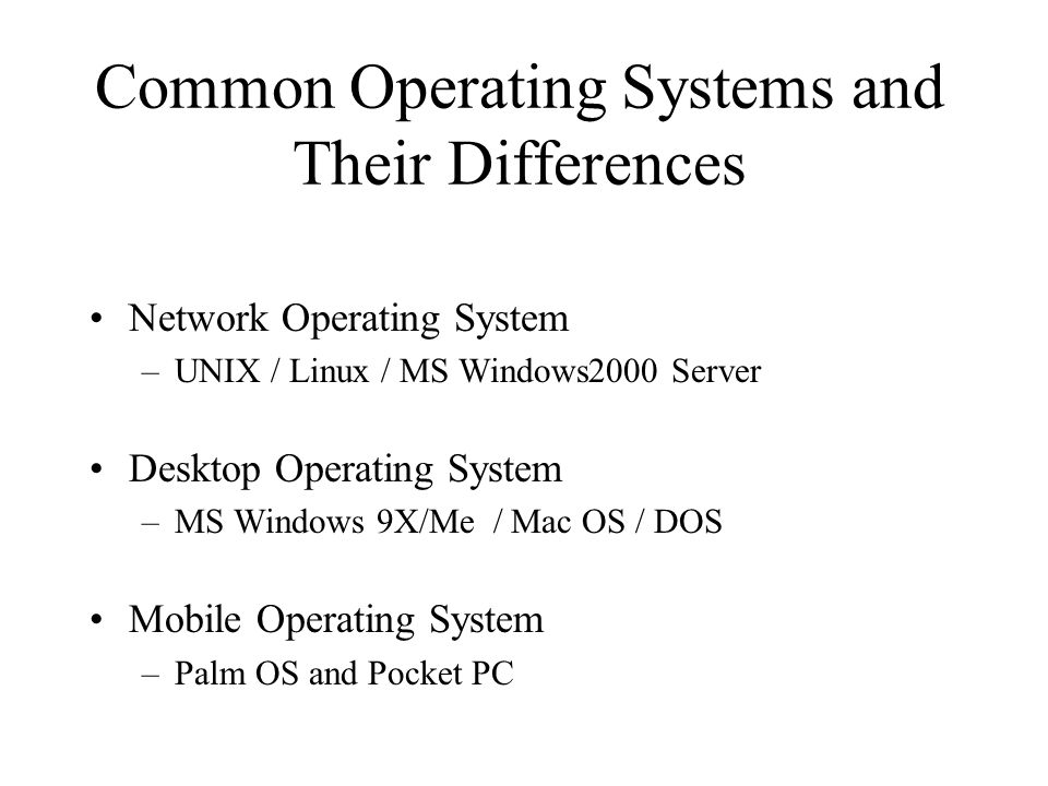 Common Operating Systems and Their Differences