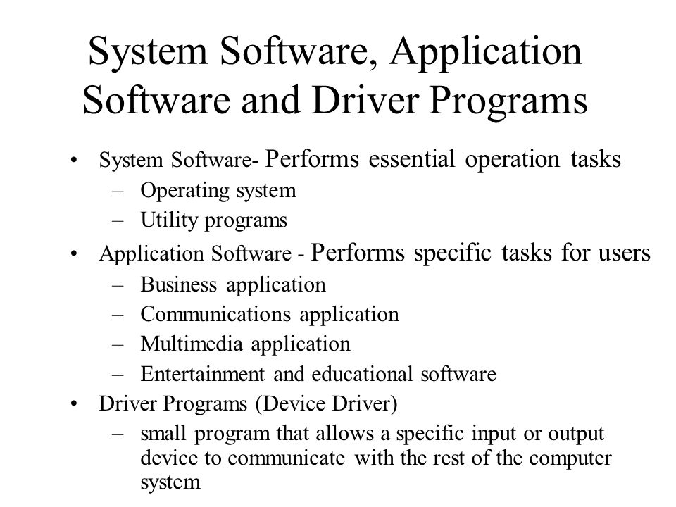 System Software, Application Software and Driver Programs