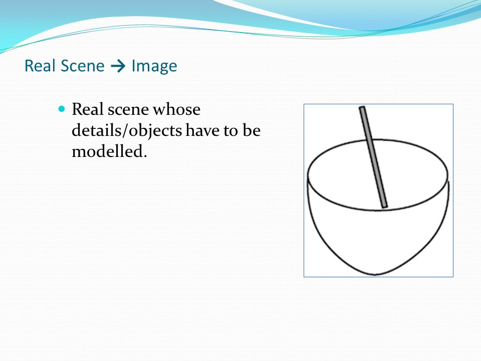 Real Scene → Image Real scene whose details/objects have to be modelled.