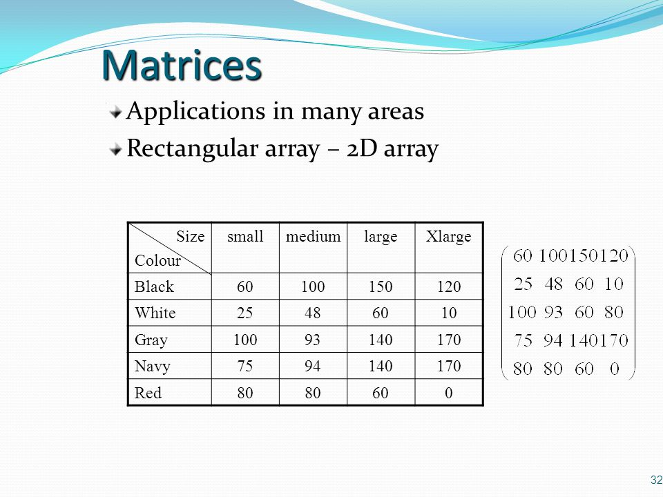 Matrices Applications in many areas Rectangular array – 2D array Size
