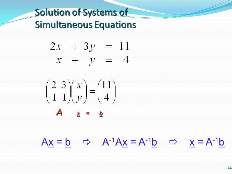 Solution of Systems of Simultaneous Equations