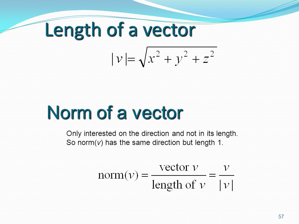 Length of a vector Norm of a vector