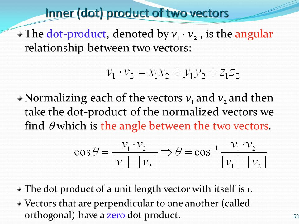 Inner (dot) product of two vectors