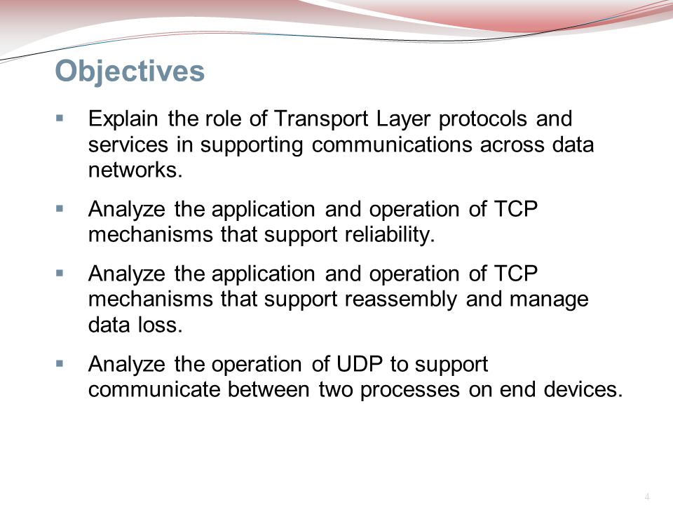 Objectives Explain the role of Transport Layer protocols and services in supporting communications across data networks.