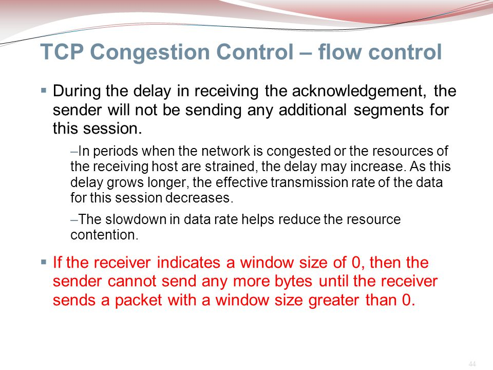TCP Congestion Control – flow control