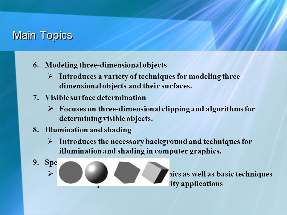 Main Topics Modeling three-dimensional objects