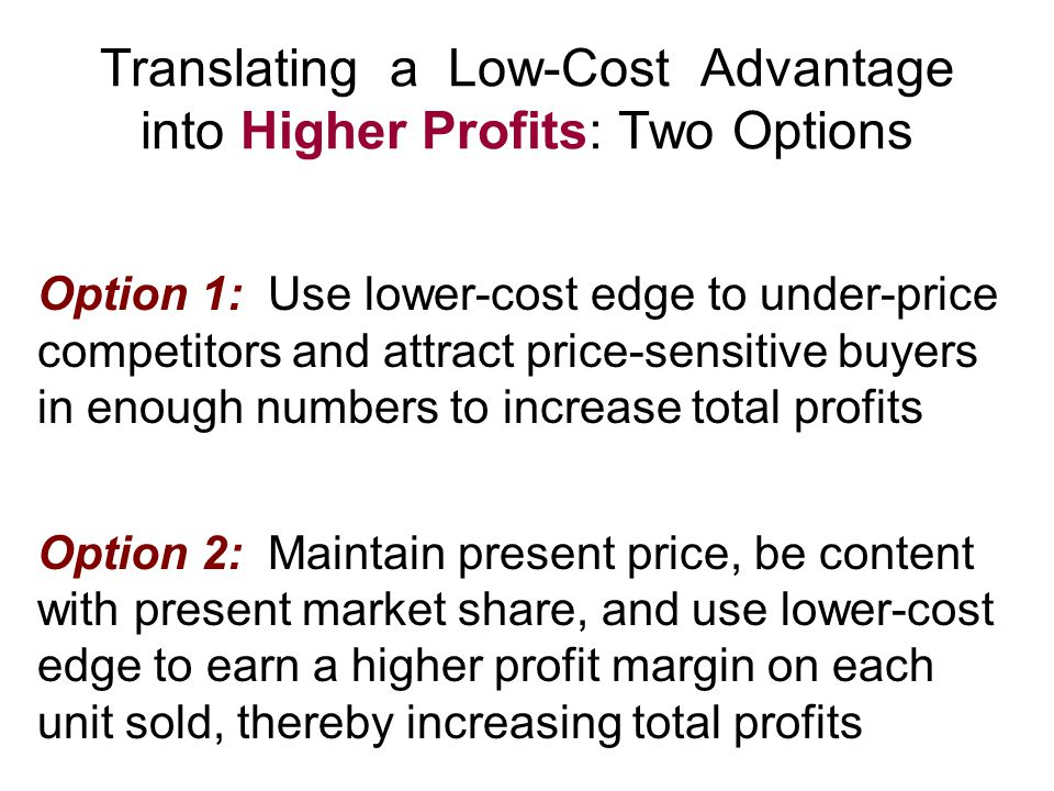 Translating a Low-Cost Advantage into Higher Profits: Two Options