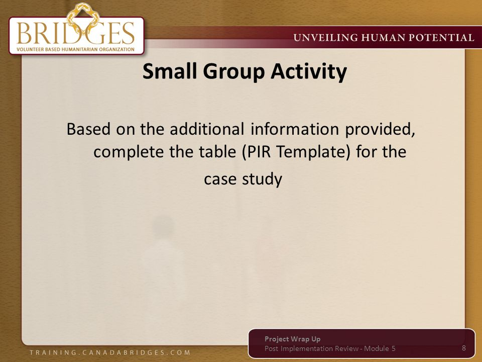 Small Group Activity Based on the additional information provided, complete the table (PIR Template) for the case study