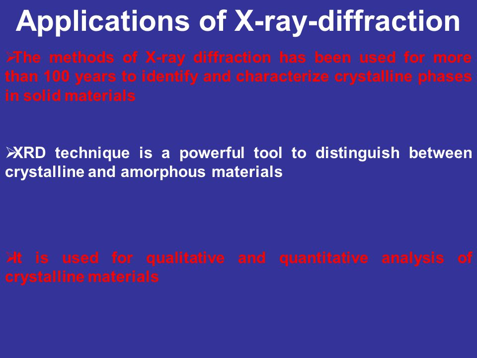 Applications of X-ray-diffraction