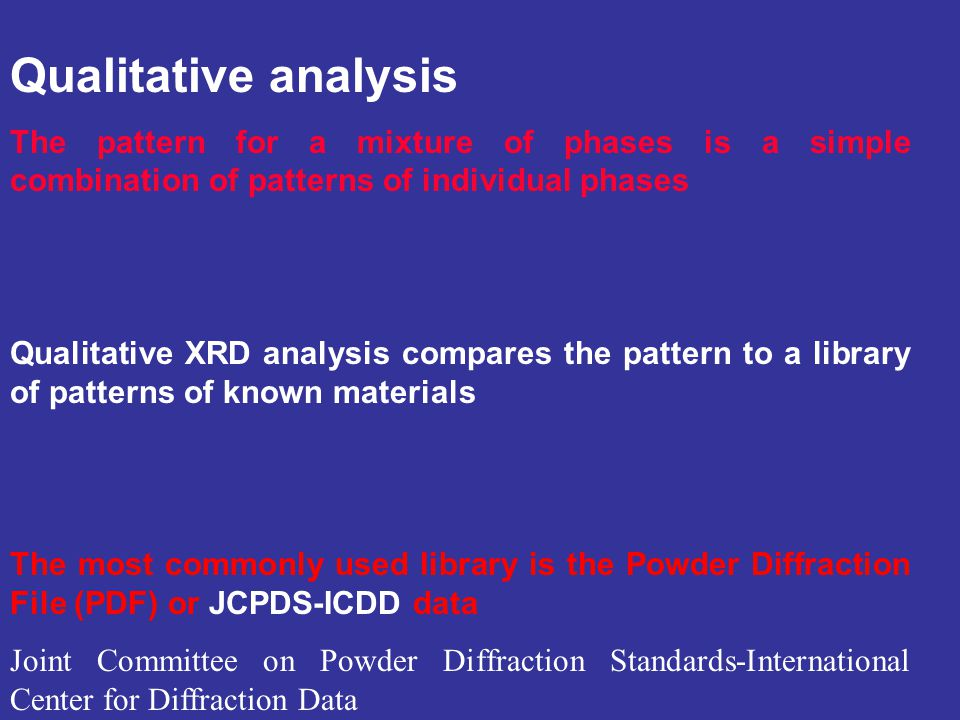 Qualitative analysis The pattern for a mixture of phases is a simple combination of patterns of individual phases.