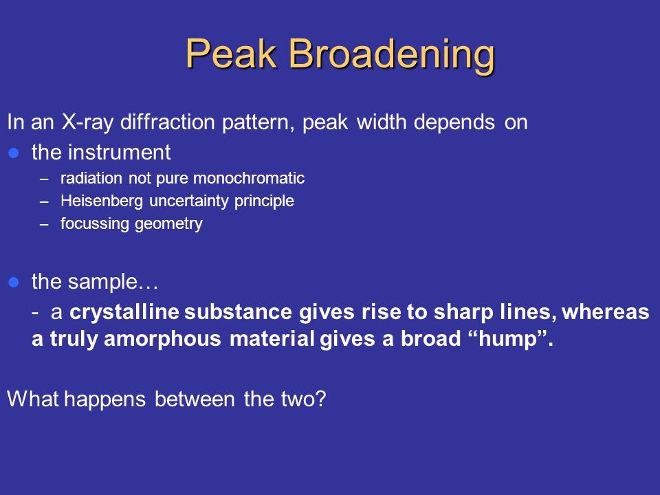 Peak Broadening In an X-ray diffraction pattern, peak width depends on