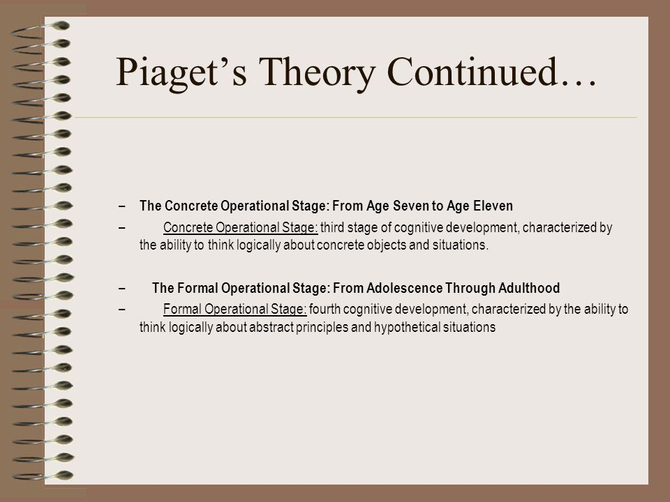Piaget's Theory Continued…