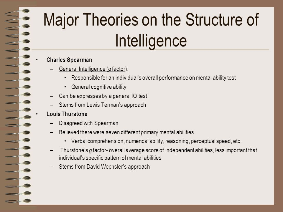 Major Theories on the Structure of Intelligence