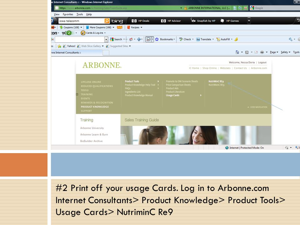 #2 Print off your usage Cards. Log in to Arbonne