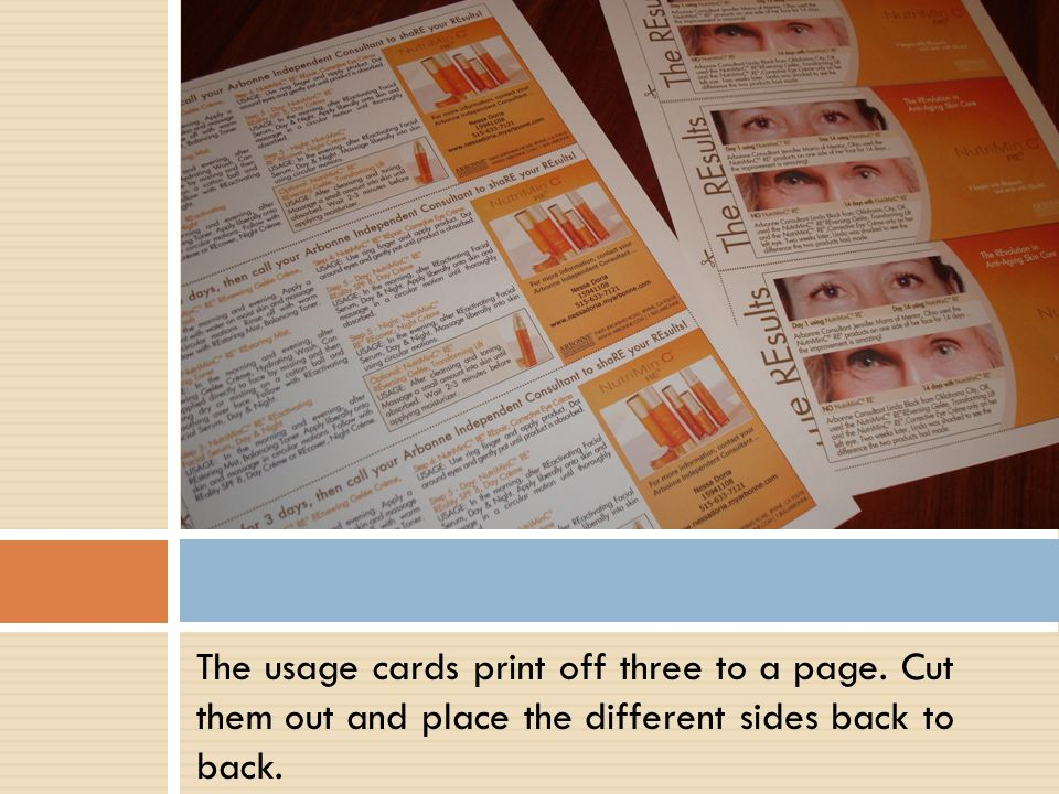 The usage cards print off three to a page