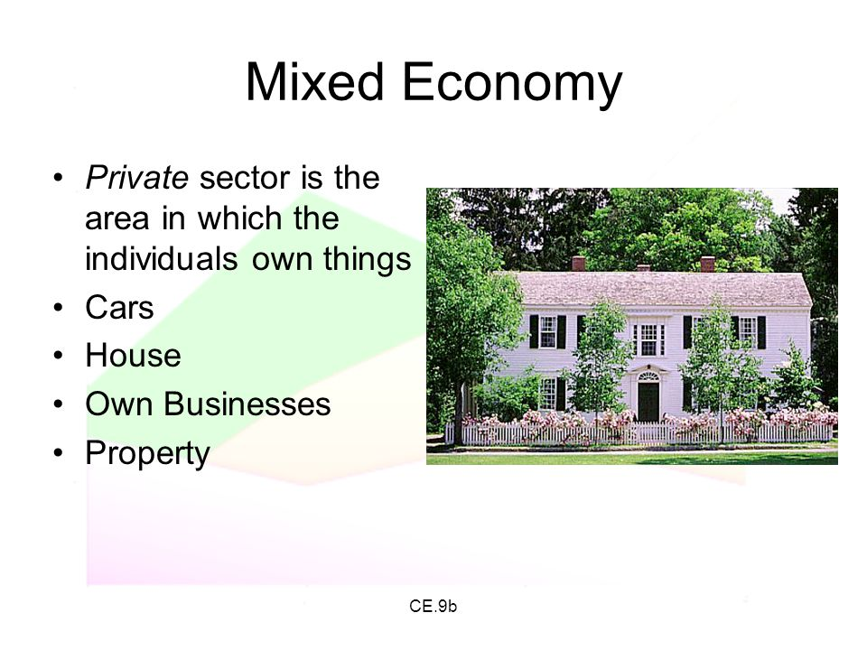 Mixed Economy Private sector is the area in which the individuals own things. Cars. House. Own Businesses.