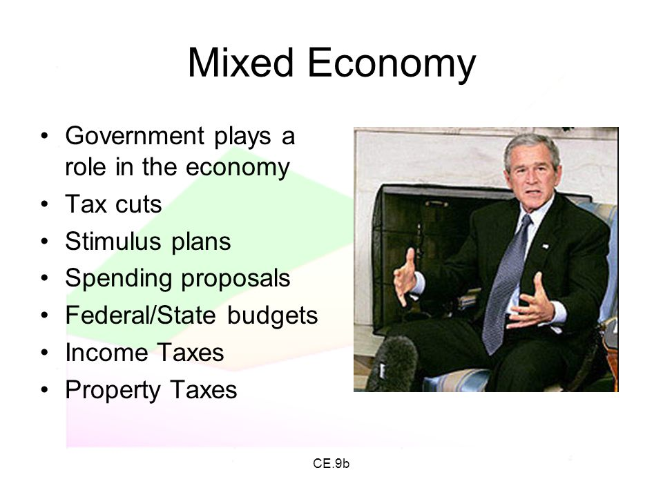 Mixed Economy Government plays a role in the economy Tax cuts
