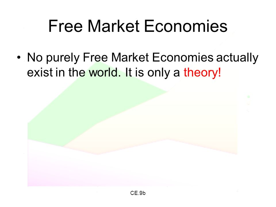 Free Market Economies No purely Free Market Economies actually exist in the world. It is only a theory!