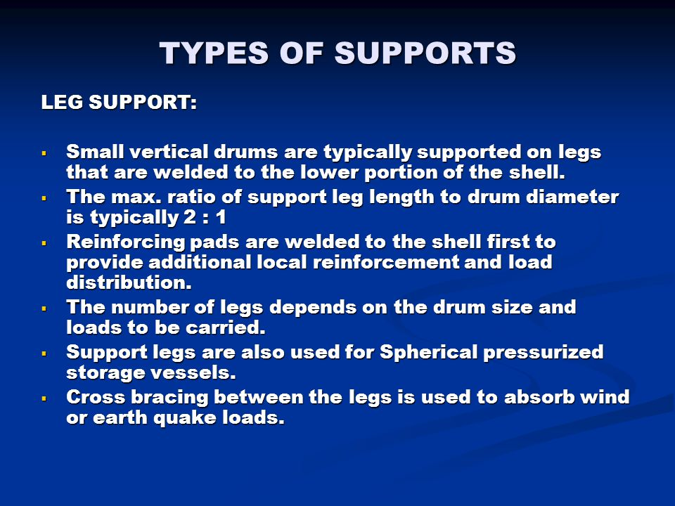 TYPES OF SUPPORTS LEG SUPPORT: