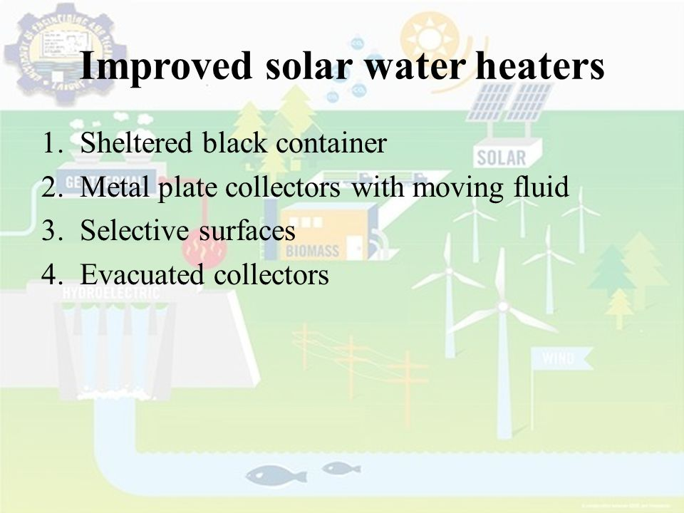 Improved solar water heaters