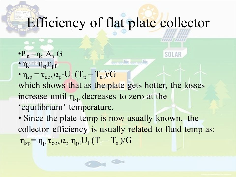 Efficiency of flat plate collector
