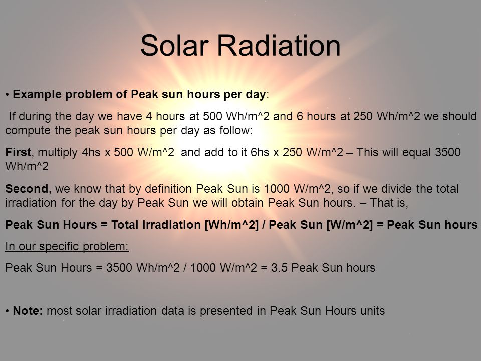 Solar Radiation Example problem of Peak sun hours per day: