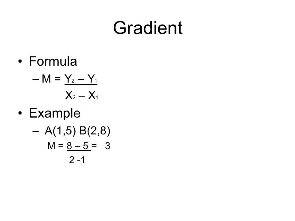 Gradient Formula Example M = Y2 – Y1 X2 – X1 A(1,5) B(2,8)