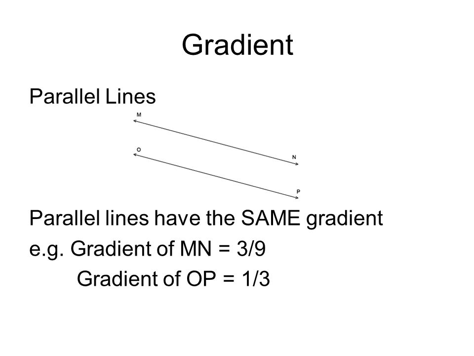 Gradient Parallel Lines Parallel lines have the SAME gradient