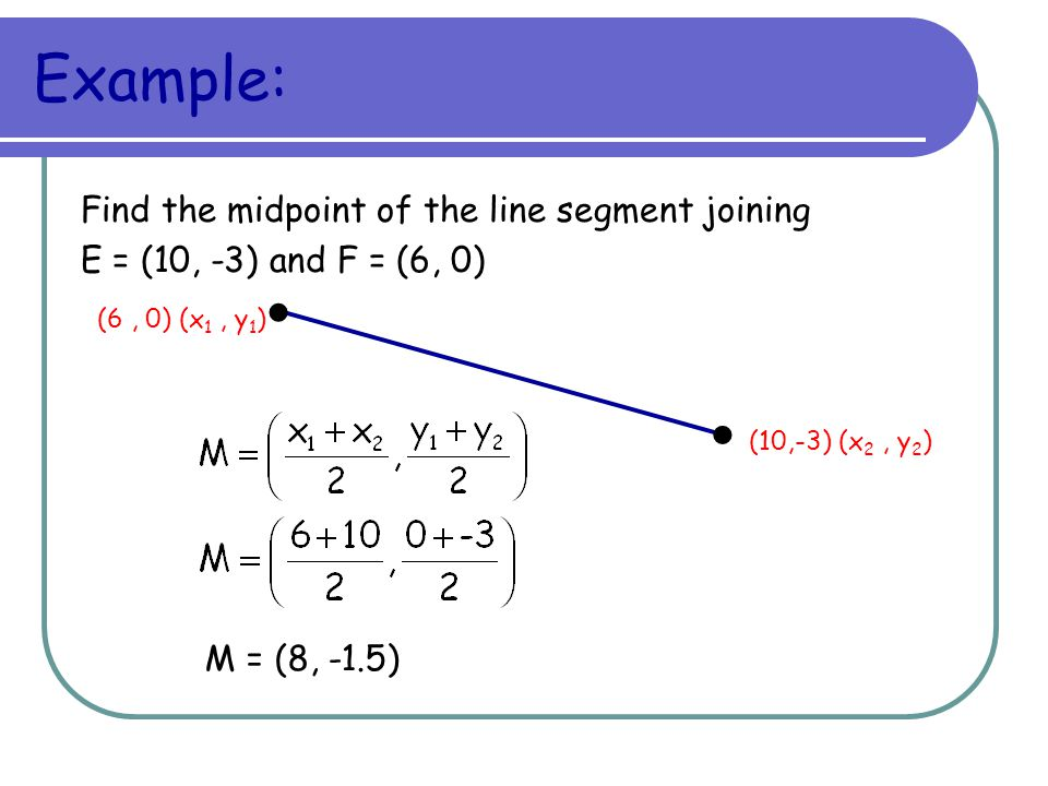Example: Find the midpoint of the line segment joining. E = (10, -3) and F = (6, 0) (6 , 0) (x1 , y1)