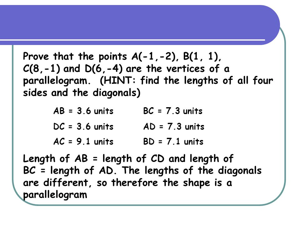 Prove that the points A(-1,-2), B(1, 1),