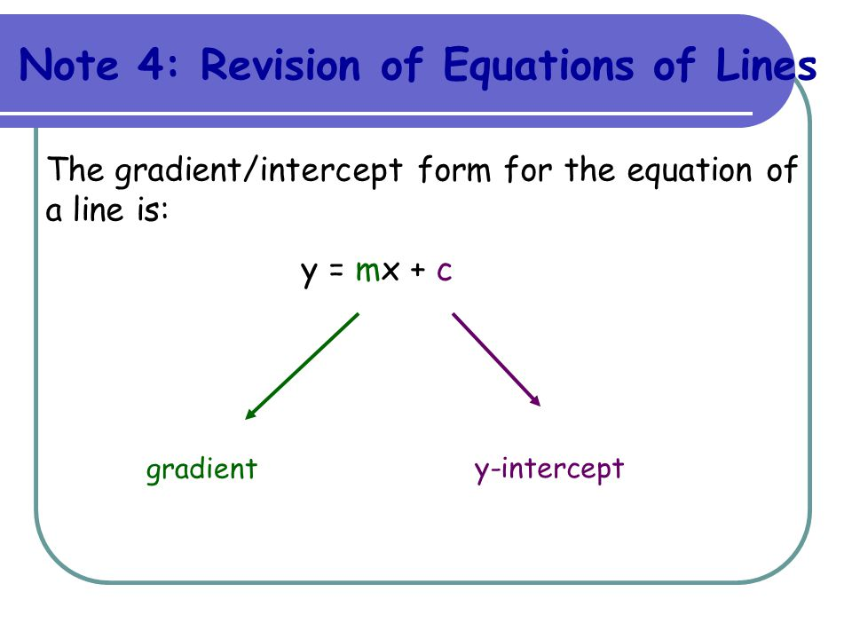 Note 4: Revision of Equations of Lines