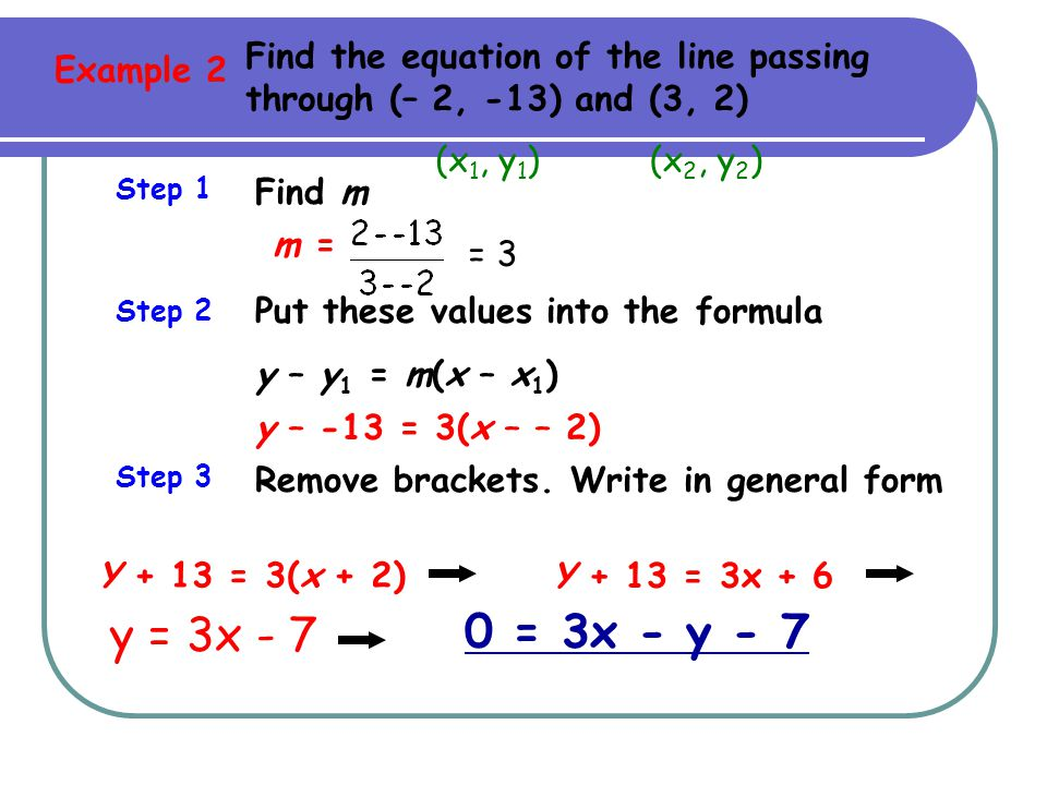 Find the equation of the line passing through (– 2, -13) and (3, 2)