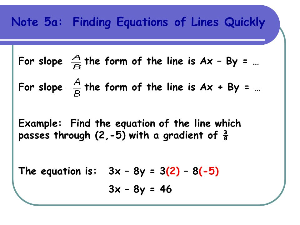 Note 5a: Finding Equations of Lines Quickly