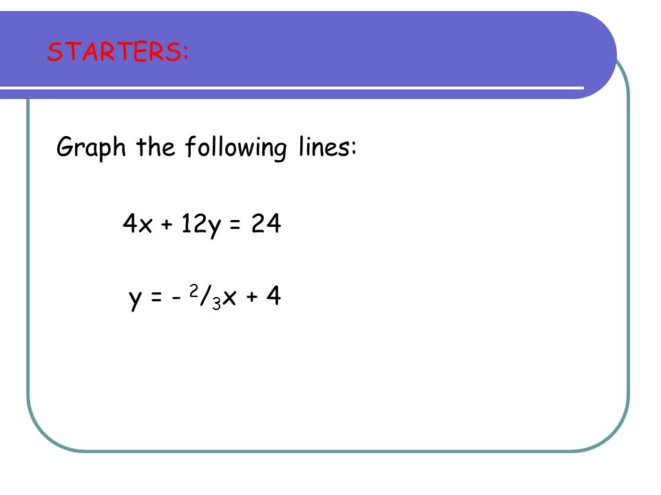 STARTERS: Graph the following lines: 4x + 12y = 24 y = - 2/3x + 4