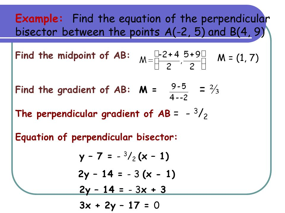 Example: Find the equation of the perpendicular bisector between the points A(-2, 5) and B(4, 9)