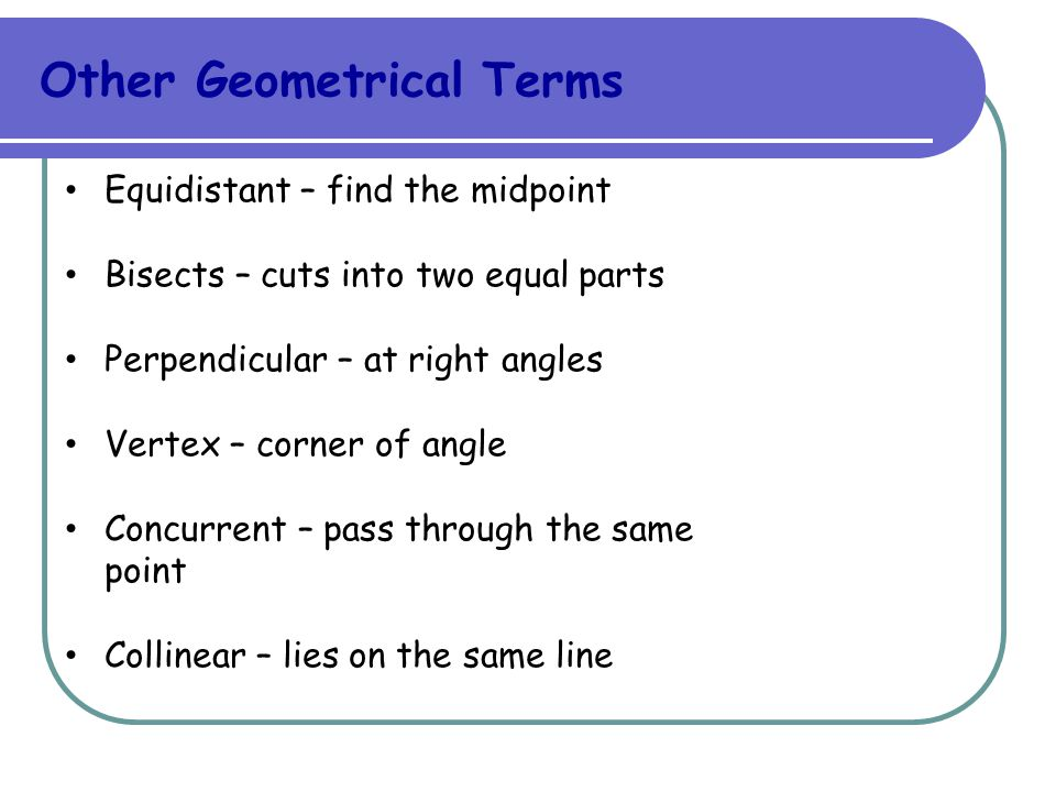 Other Geometrical Terms