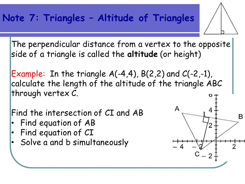 Note 7: Triangles – Altitude of Triangles