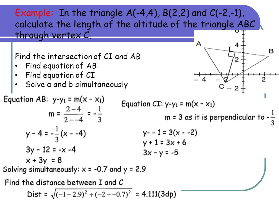 Example: In the triangle A(-4,4), B(2,2) and C(-2,-1), calculate the length of the altitude of the triangle ABC through vertex C.