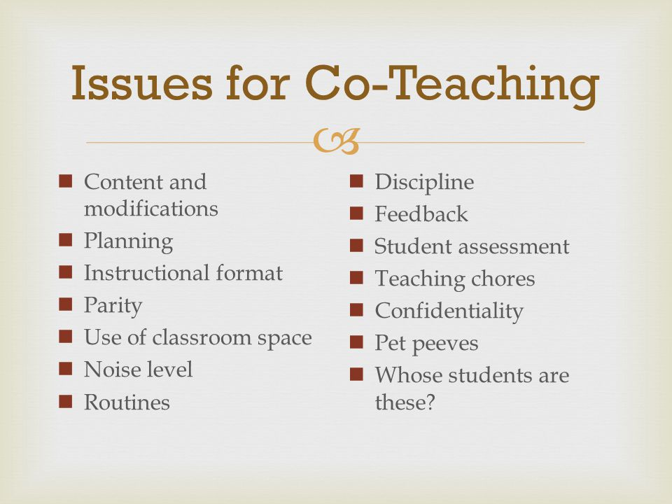 Issues for Co-Teaching
