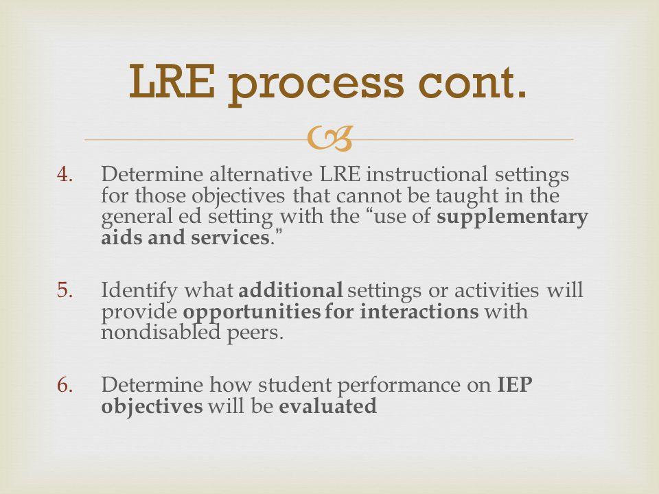 LRE process cont.