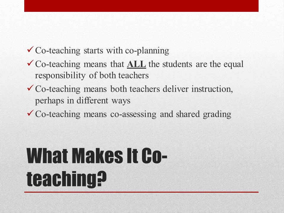 What Makes It Co-teaching